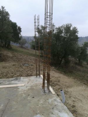 Two Columns in Place at new house construction site in Le Marche