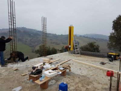 Concrete Form on Column at new house construction site in Le Marche