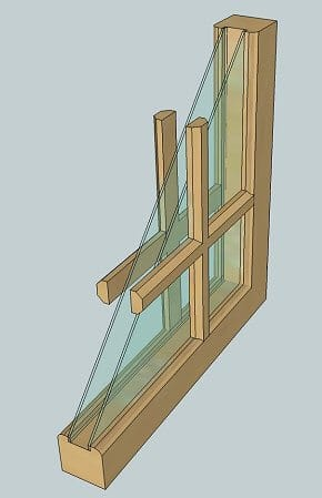 Drawing of a simulated divided light window
