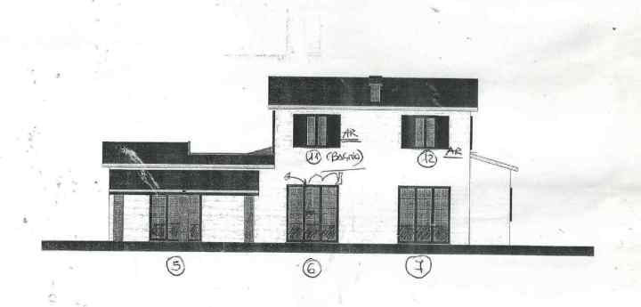 Drawing of rear of house in Le Marche