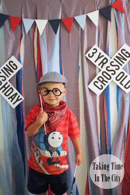 Our Boy Life - Thomas the Train Birthday Party Photo Booth Picture