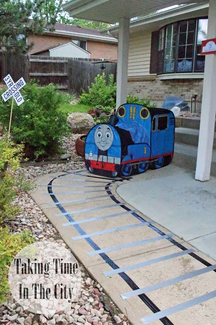 Our Boy Life - Thomas Birthday Party Front of House Train Track