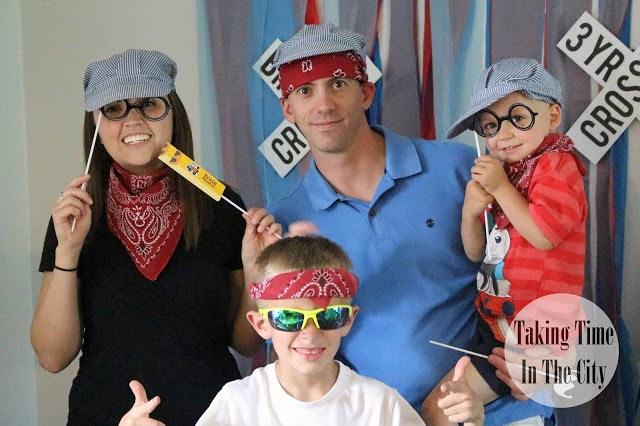 Our Boy Life - Thomas Birthday Party Photo Booth Family Photo