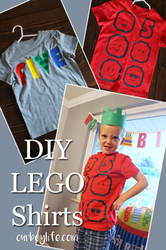 A title image to use for Pinterest. DIY LEGO Shirts.