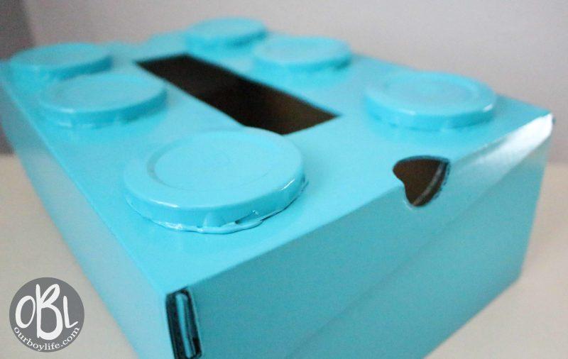 LEGO studs on a Valentine box