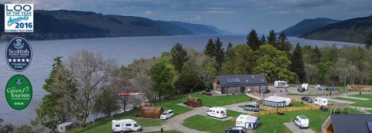 Loch Ness shore Caravan Site. Photo