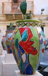 Colourful vases.