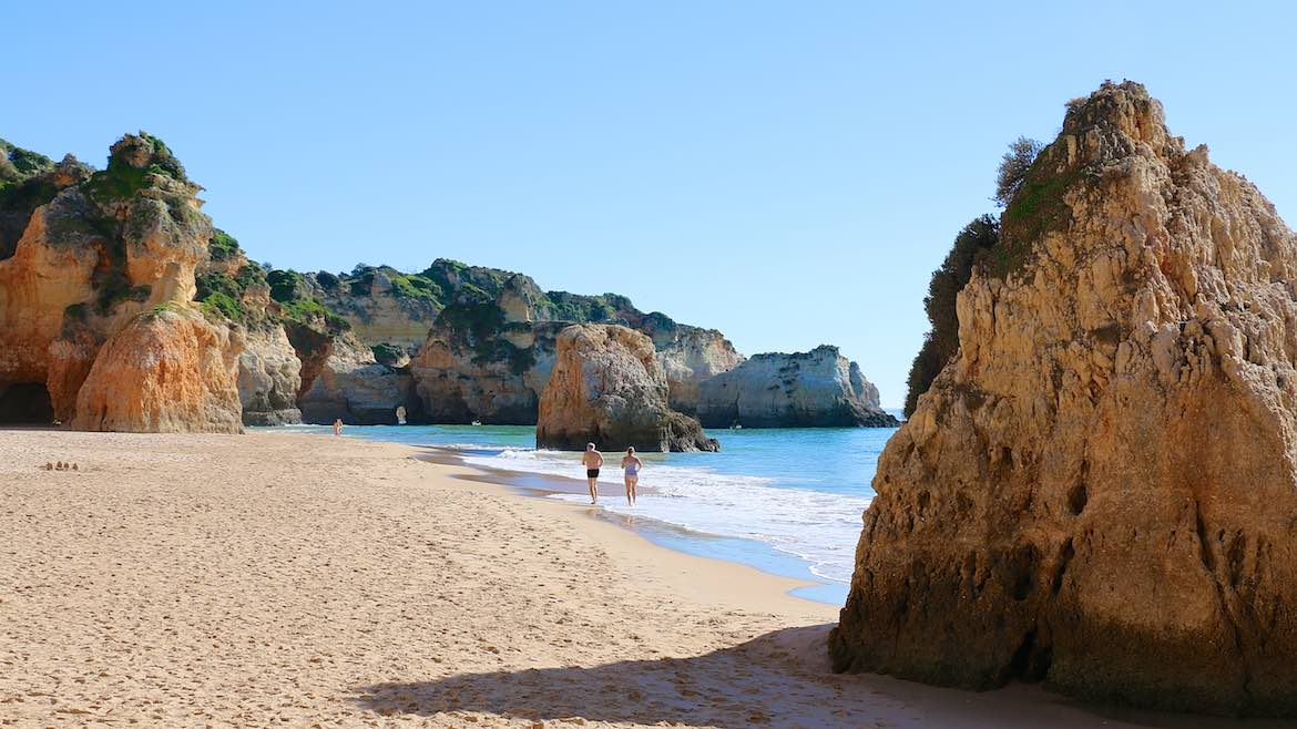 Nudists use the end of the beach at Alvor.