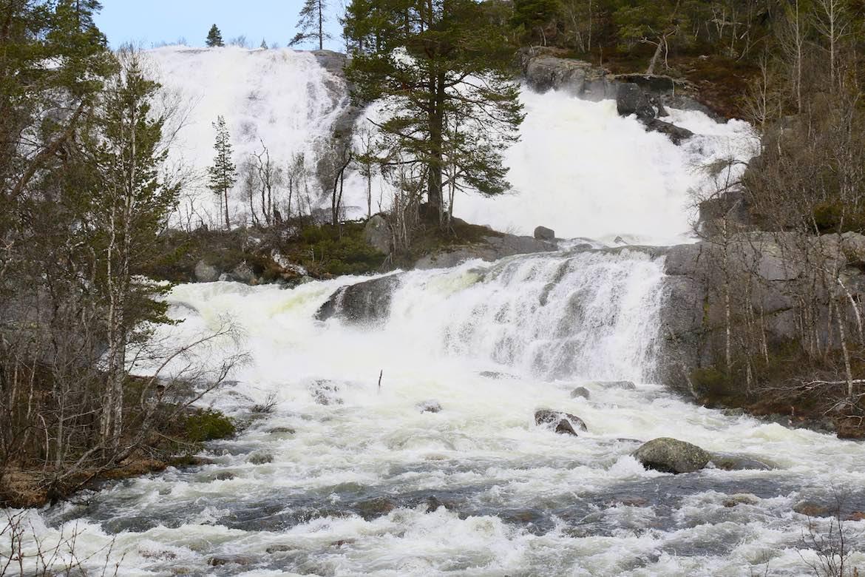 Wide, gushing waterfalls