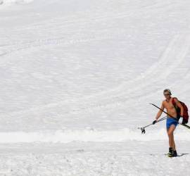 Skiing in Shorts!
