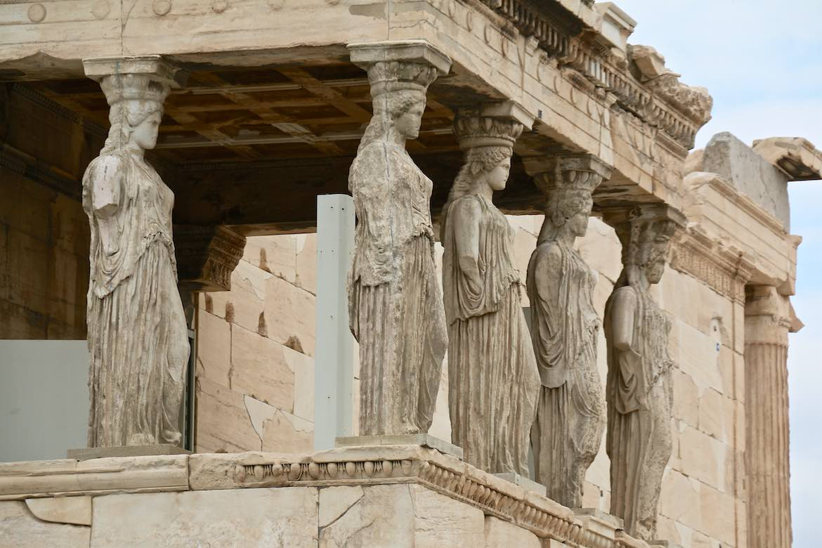 These statues of women were used in place of columns on the south porch of the Erechtheion.