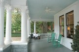 COuntry porch with haint blue ceiling