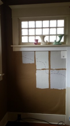 Wall sowing detached plaster outlined in felt pen