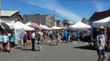 White tents of the Coupeville Arts Fair on Front St.