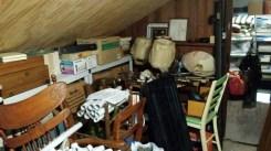 Furniture piled in attic