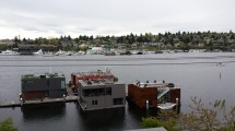 View of Seattle floating homes on Lake Union