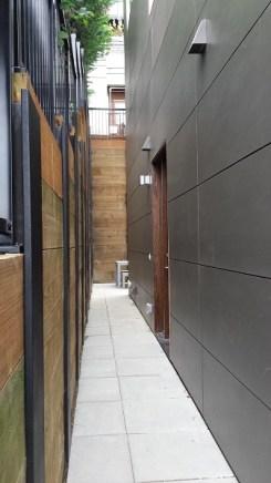 Narrow outdoor entry corridor