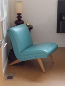 Aqua leather modern slipper chair