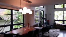 Five-light chandelier over dining table