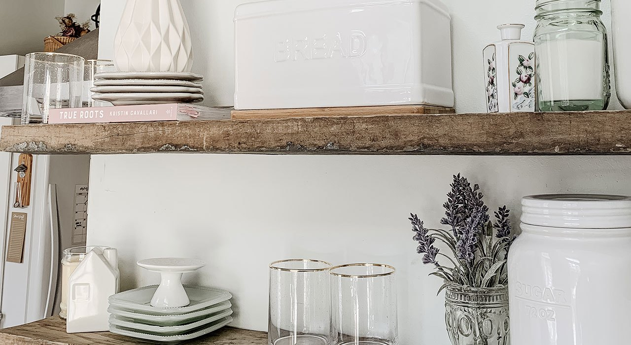 DIY Kitchen Floating Shelves + Functional Styling