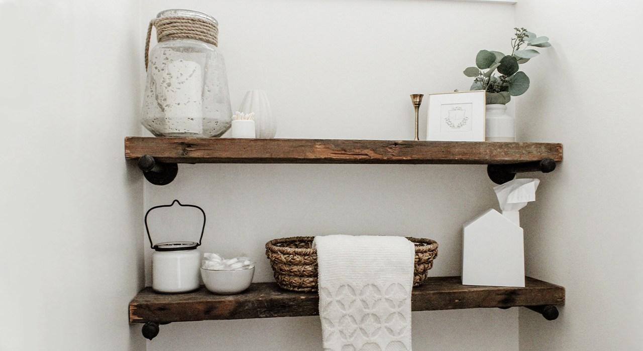 Home Tour Series: Powder Room Makeover Reveal + DIY Shiplap & Shelves