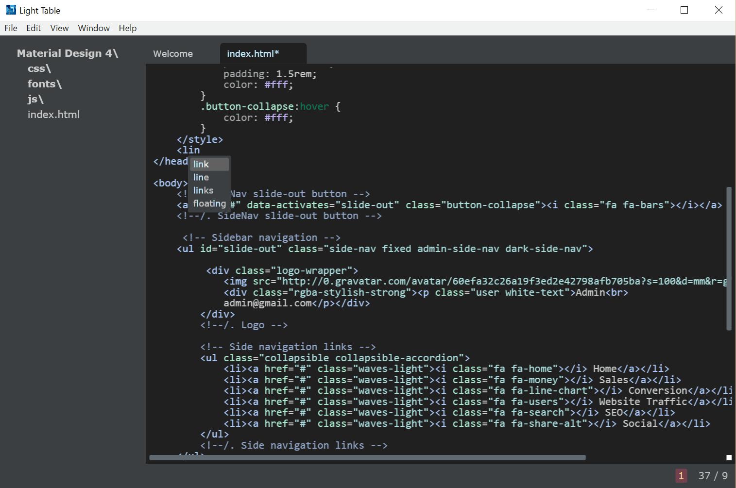 Light table code editor