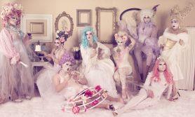 Glamazons Photo Shoot by Laura Dark - L to R: Bianna Reyonce, Mary Nolan, Ashley O'Shea, Helena Troy, Mr. Pottymouth, Diamond Hunter, Nikki Stone and Mitze Peterbilt