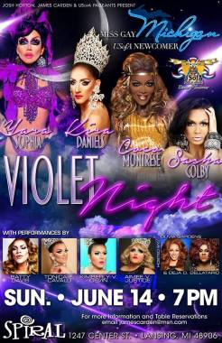 Show Ad | Miss Gay Michigan USofA Newcomer | Spiral Nightclub (Lansing, Michigan) | 6/14/2015