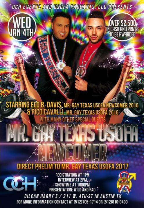 Show Ad | Mr. Gay Texas USofA Newcomer | Oil Can Harry's (Austin, Texas) | 1/4/2017