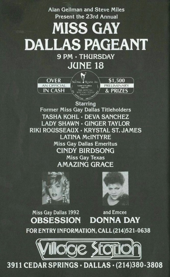 Show Ad | Miss Gay Dallas America | Village Station (Dallas, Texas) | 6/18/1992