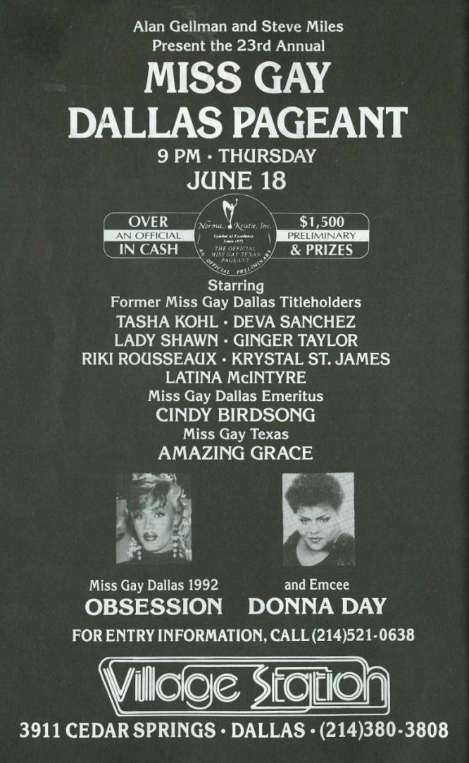 Show Ad | Miss Gay Dallas America | Village Station (Dallas, Texas) | 6/18/1992