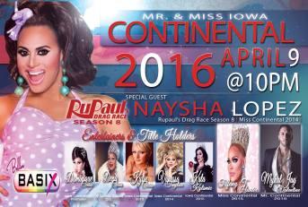 Show Ad   Mr. and Miss Iowa Continental   Belle's Basix (Cedar Rapids, Iowa)   4/9/2016