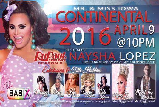 Show Ad | Mr. and Miss Iowa Continental | Belle's Basix (Cedar Rapids, Iowa) | 4/9/2016