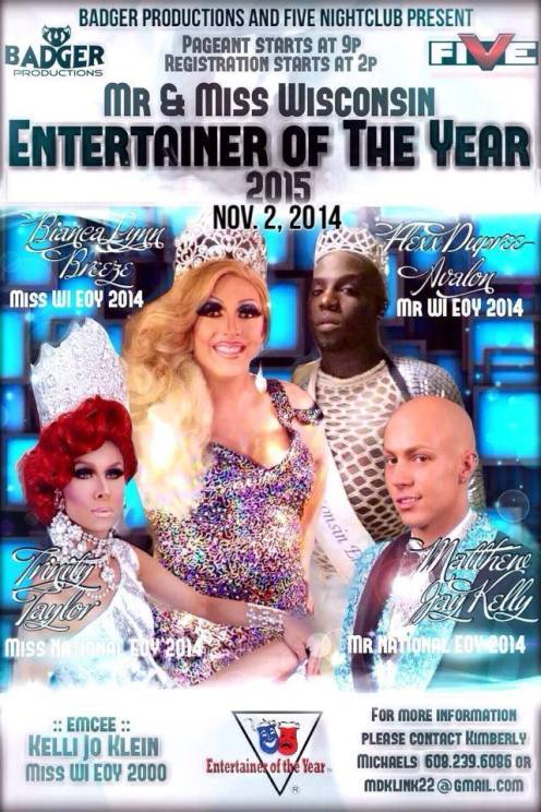 Show Ad | Wisconsin Entertainer of the Year | Five Nightclub (Madison, Wisconsin) | 11/2/2014