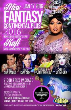 Show Ad | Miss Fantasy Continental Plus | Meteor Lounge (Houston, Texas) | 1/17/2016