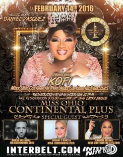 Show Ad | Miss Ohio Continental Plus | Interbelt Nite Club (Akron, Ohio) | 2/14/2016