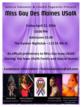 Show Ad   Miss Gay Des Moines USofA   The Garden Nightclub (Des Moines, Iowa)   4/22/2016