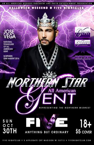 Show Ad | Northern Star All American Gent | Five Nightclub (Madison, Wisconsin) | 10/30/2016