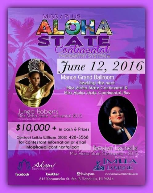 Show Ad | Miss Aloha State Continental and Plus | Imua Lounge (Honolulu, Hawaii) | 6/12/2016