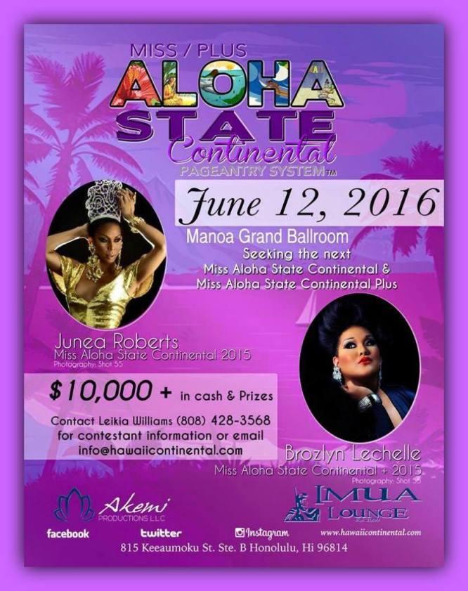 Show Ad   Miss Aloha State Continental and Plus   Imua Lounge (Honolulu, Hawaii)   6/12/2016