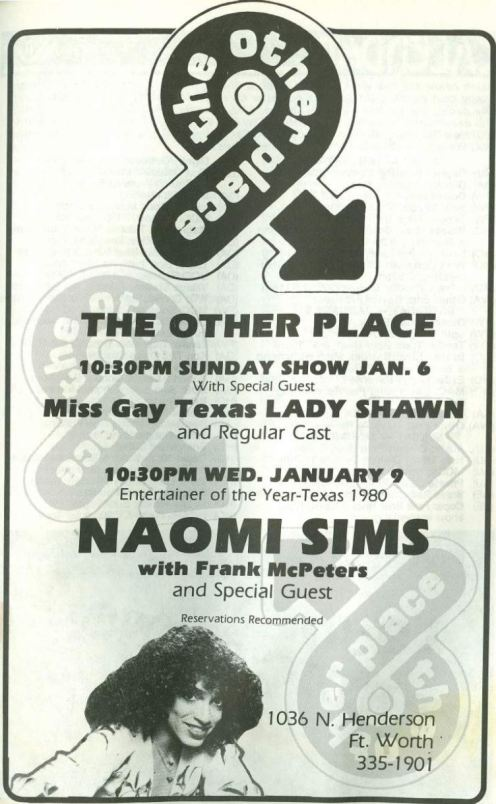 Show Ad | The Other Place (Ft. Worth, Texas) | 1/6-1/9/1980