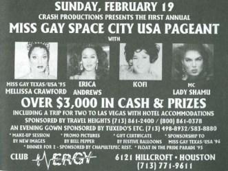 Show Ad | Miss Gay Space City USA | Club Energy (Houston, Texas) | 2/19/1995
