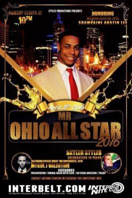 Show Ad | Mr. Ohio All Star | Interbelt Nite Club (Akron, Ohio) | 4/3/2016