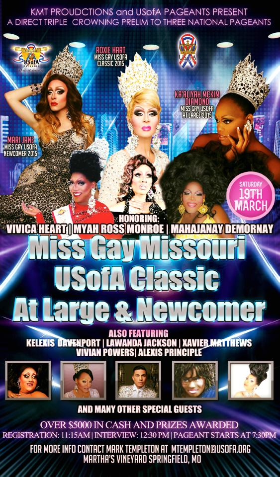Show Ad | Miss Gay Missouri USofA Classic, At Large and Newcomer | Martha's Vineyard (Springfield, Missouri) | 3/19/2016