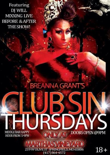 Show Ad | Breanna Grant's Club Sin Thursdays | Martha's Vineyard (Springfield, Missouri) | 12/12/2013