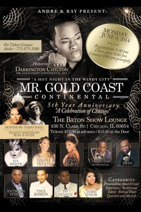 Show Ad | Mr. Gold Coast Continental | The Baton Show Lounge (Chicago, Illinois) | 6/9/2014