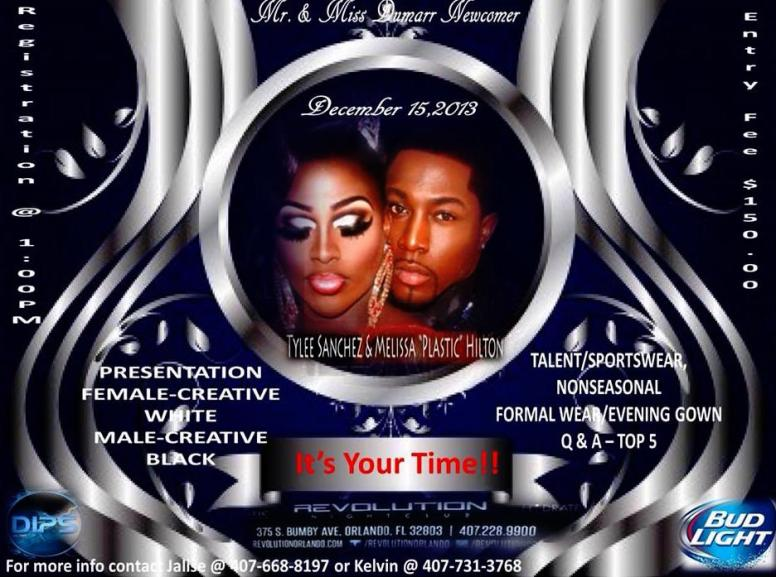 Show Ad | Mr. and Miss Dumarr International Newcomer | Revolution Night Club (Orlando, Florida) | 12/15/2013