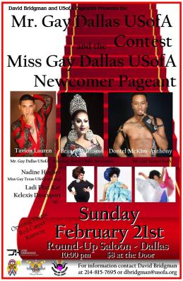 Show Ad | Mr. Gay Dallas USofA and Miss Gay Dallas USofA Newcomer | Round-Up Saloon (Dallas, Texas) | 2/21/2016