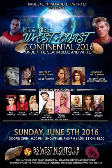Show Ad | Mr. and Miss West Coast Continental | BS West Nightclub (Scottsdale, Arizona) | 6/5/2016