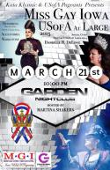 Show Ad | MIss Gay Iowa USofA at Large | Garden Nightclub (Des Moines, Iowa) | 3/21/2015